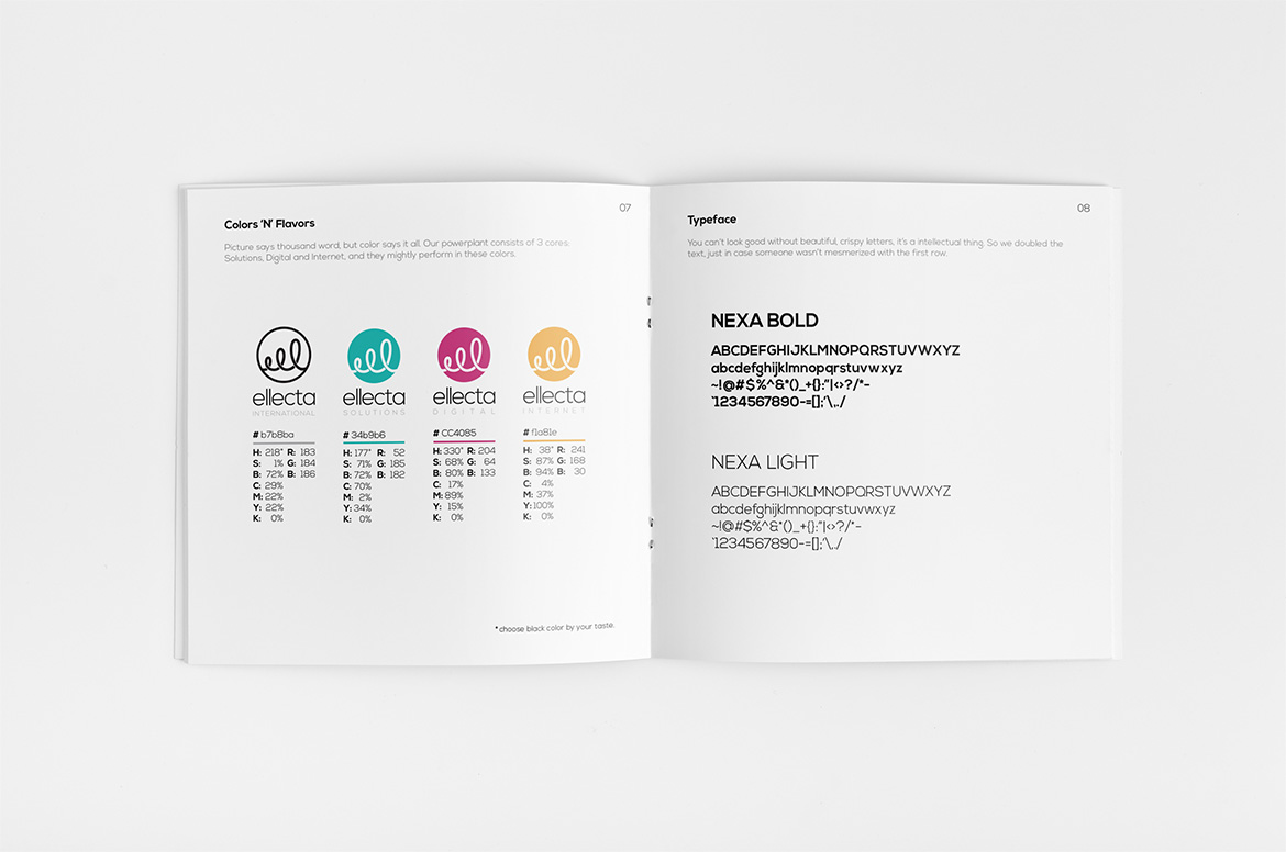 Cloudly Labs - Ellecta International - Style Guide Book Colors and Typeface